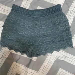 Blue/gray lace shorts